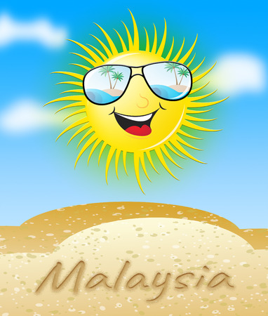 Malaysia Sun With Glasses Smiling Meaning Sunny 3d Illustration Stock Photo