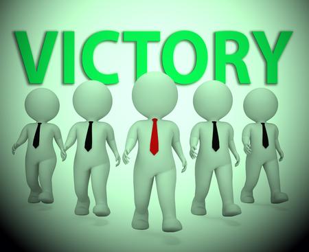Victory Businessmen Characters Showing Entrepreneurs Entrepreneur 3d Rendering