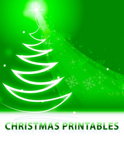 printables: Christmas Printables Snow Scene Means Xmas Pictures 3d Illustration Stock Photo