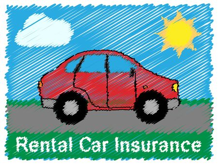 insure: Rental Car Insurance Road Sketch Means Car Policy 3d Illustration