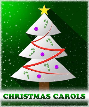 caroling: Christmas Carols Tree Shows Xmas Music 3d Illustration Stock Photo