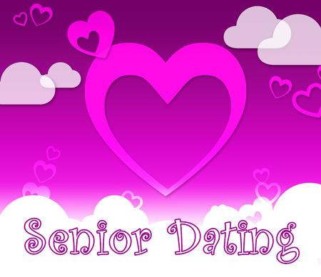 Senior Dating Hearts Represents Retired Sweetheart And Dates