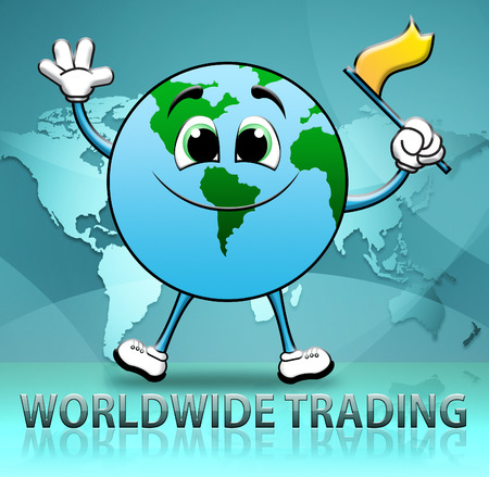 globally: Worldwide Trading Globe Character Shows World Commerce 3d Illustration