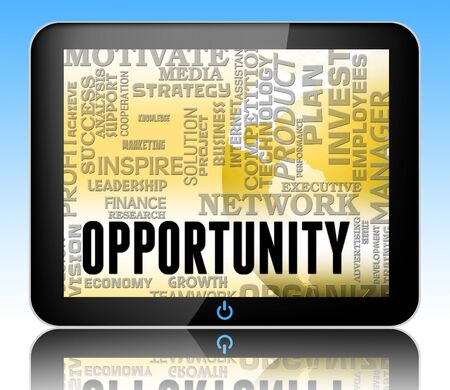 business opportunity: Opportunity Words Tablet Showing Business Possibilities And Chances 3d Illustration