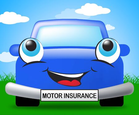 insure: Motor Insurance Smiling Vehicle Represents Car Policy 3d Illustration