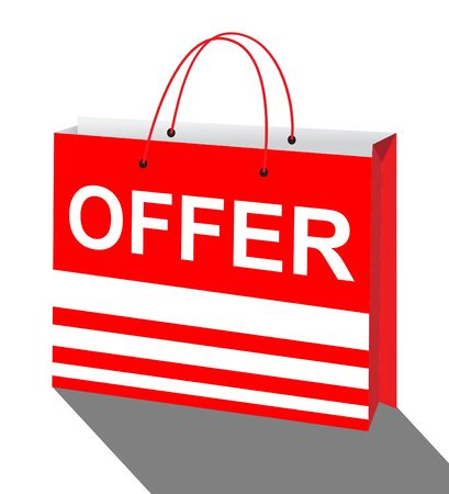 bargains: Offer Shopping Bag Showing Bargain Prices 3d Illustration