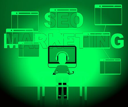 Seo Marketing Character Showing Search Engines 3d Illustration