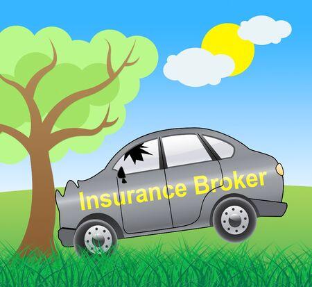 insure: Insurance Broker Crash Showing Car Policy 3d Illustration