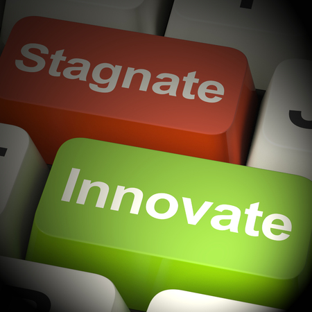 Stagnate Innovate Computer Keys Shows Choice Of Growth 3d Rendering Stock Photo