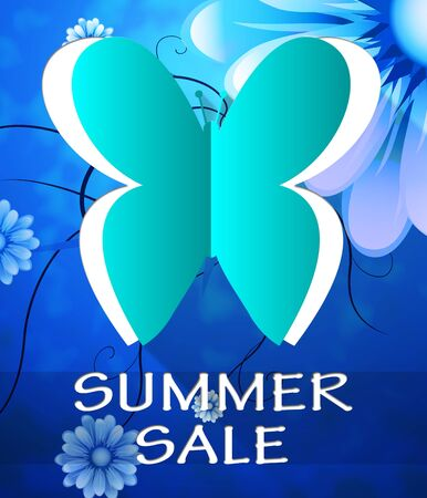 bargains: Summer Sale Butterfly Cutout Shows Bargain Offers 3d Illustration