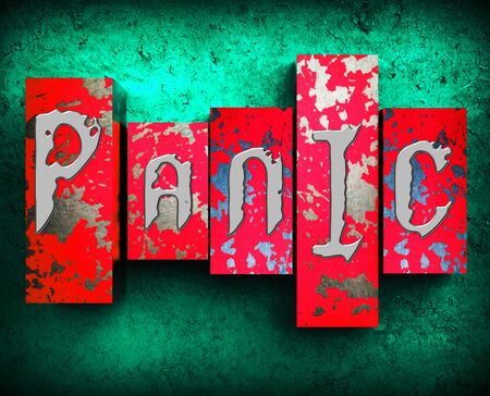 panicky: Panic Word Showing Anxiety Panicking 3d Illustration Stock Photo