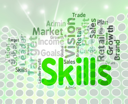 Skills Word Wordcloud Indicating Skilled Aptitudes And Words