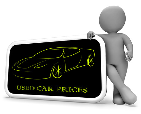 second hand: Used Car Prices Phone Showing Second Hand Auto Values 3d Rendering Stock Photo