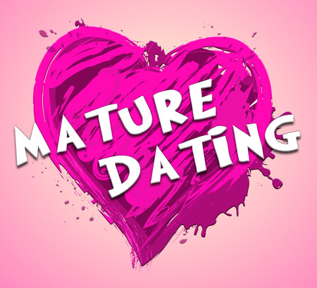 Mature Dating Heart Design Represents Sweethearts Relationship 3d Illustration Stock Photo