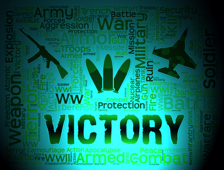 victorious: Victory Words Means Winning Battle And Victorious Stock Photo