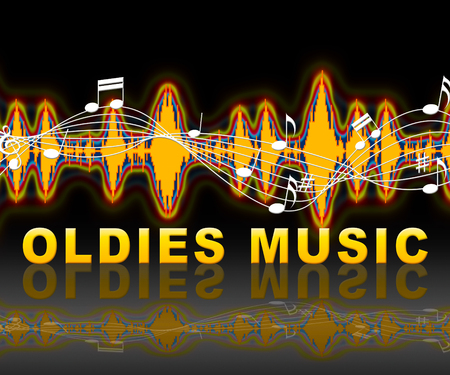 tunes: Oldies Music Soundwave Means Classic Tunes From The Past Stock Photo