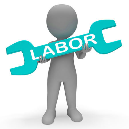 slog: Labor Character with Spanner Shows Working Hard 3d Rendering Stock Photo