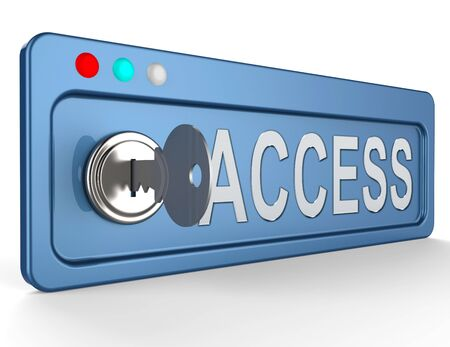 admittance: Access Lock And Key Shows Admittance Accessibility 3d Illustration Stock Photo