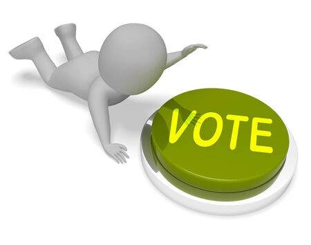 poll: Vote Character Pushing Button Shows Poll Voting 3d Rendering