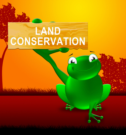 Frog With Land Conservation Sign Shows Natural Preservation 3d Illustration