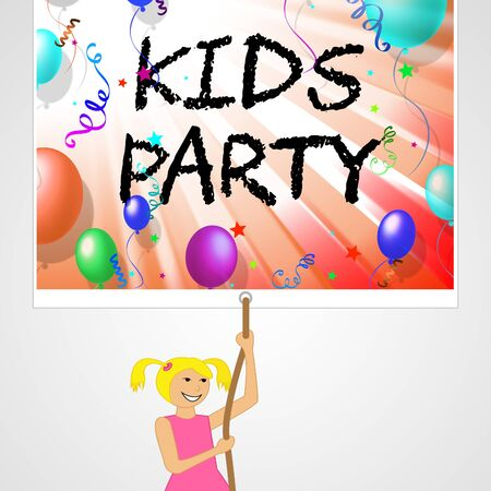 adolescent: Kids Party Showing Toddlers Celebrate And Childhood 3d Illustration