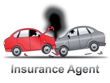 middleman: Auto Insurance Agent Crash Shows Car Policy 3d Illustration