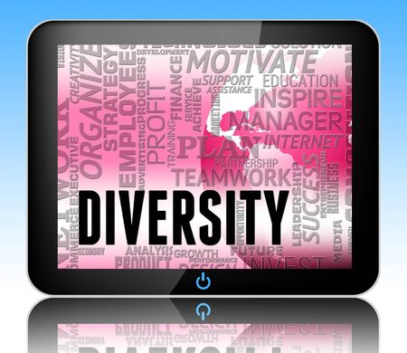variance: Diversity Words Tablet Indicating Mixed Bag And Different 3d Illustration
