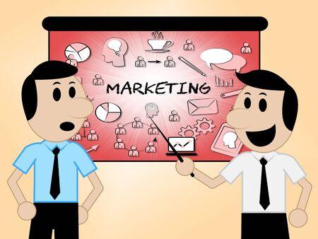 Marketing Icons Indicating E-Marketing Media And Promotions 3d Illustration