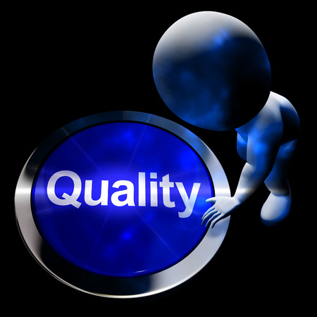 excellent service: Quality Button Representing Excellent Service Or Products 3d Rendering