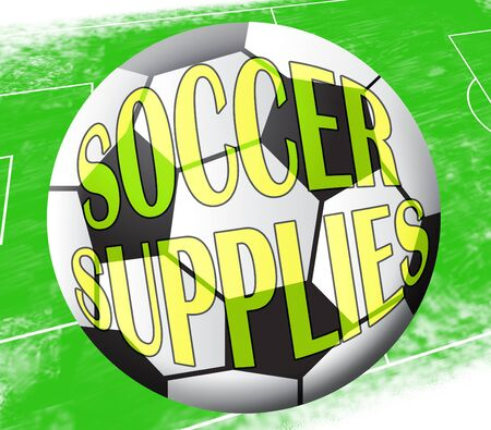 Soccer Supplies Ball Shows Football Products 3d Illustration Stock Photo