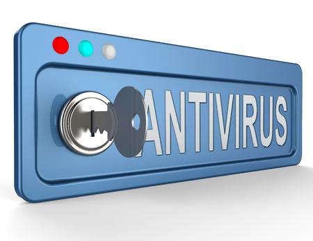 Online Antivirus Lock And Key Indicates Digital Virus 3d Illustration