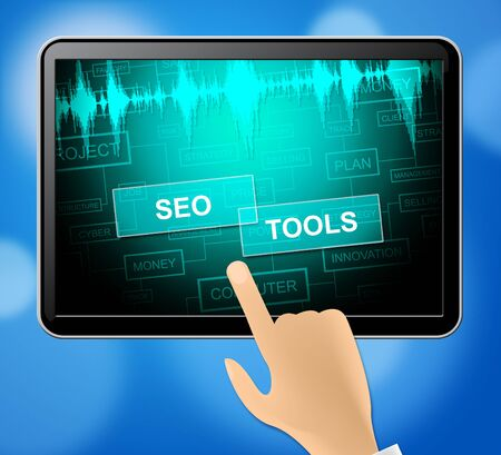 search engine optimization: Seo Tools Tablet Representing Search Engine Optimization 3d Illustration Stock Photo