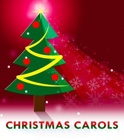 caroling: Christmas Carols Tree Scene Shows Xmas Music 3d Illustration Stock Photo