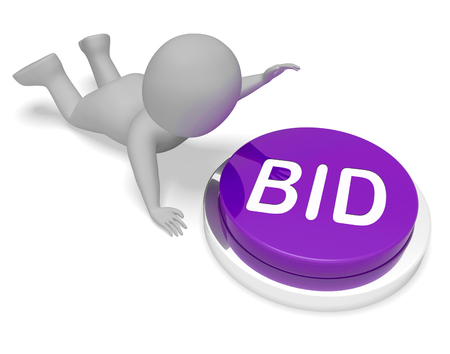 auctioning: Bid Character Pushing Button Shows Auction Bidder And Auctioning
