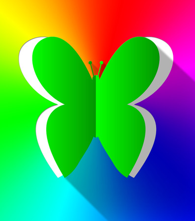Colorful Butterfly Cutout Shows Natural Butterflies 3d Illustration