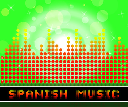 Spanish Music Graphic Equalizer Represents Latin American And Guitar