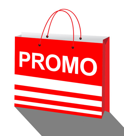 Promotion Shopping Bag Represents Online Sale 3d Illustration Reklamní fotografie
