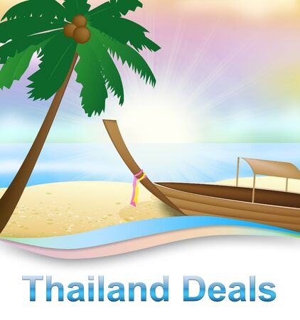 bargains: Thailand Deals Beach With Boat Shows Thai Holidays 3d Illustration