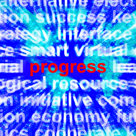 gaining: Progress Word Meaning Growth Profit And Improvements 3d Rendering Stock Photo