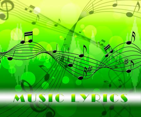 music lyrics: Música Letras Flotantes Notas indica que la pista de sonido y canciones Foto de archivo