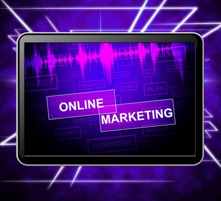 emarketing: Online Marketing Tablet Showing E-Commerce Promotions And E-Marketing 3d Illustration Stock Photo