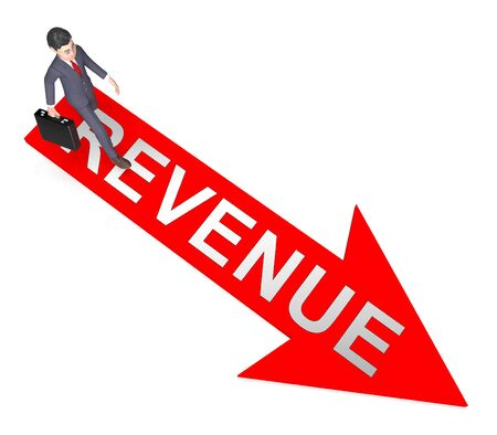 Revenue Character On Arrow Indicates Forecast Wage 3d Rendering