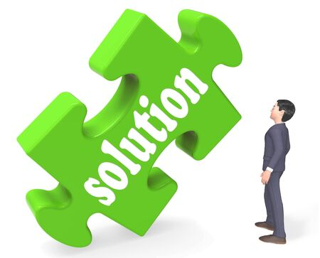 Solution Showing Success Attain Development And Strategies 3d Rendering Stock Photo