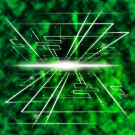 ablaze: Green Brightness Background Shows Piercing Light And Rectangles Stock Photo