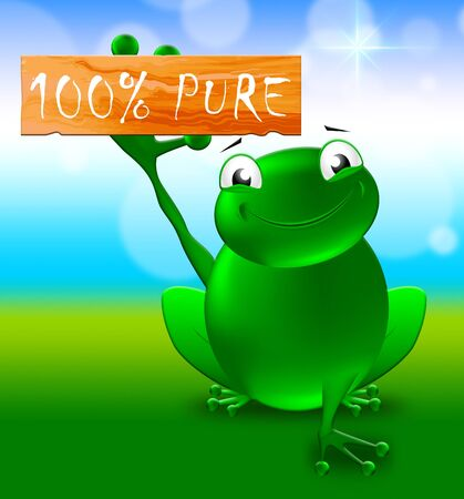 one hundred: Frog With Hundred Percent Pure Sign Shows Healthful 3d Illustration