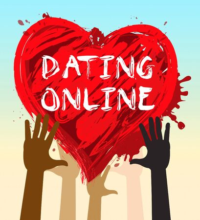 Hands Holding Dating Online Heart Indicates Sweethearts Romance 3d Illustration Stock Photo