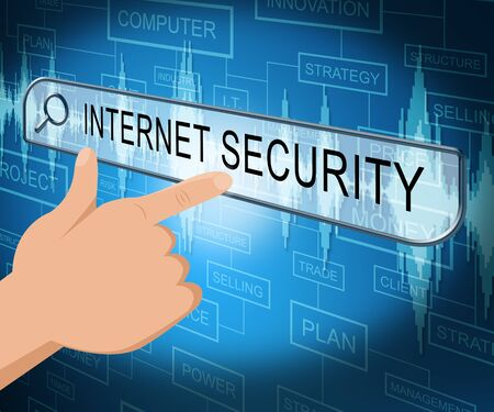 encrypt: Internet Security Online Screen Indicates Protected Website 3d Illustration Stock Photo