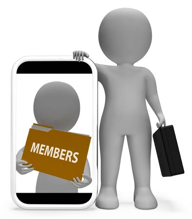 Members Folder Character Showing Join Up 3d Rendering