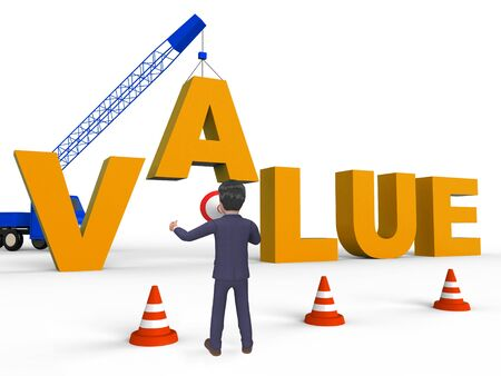 valued: Build Value Character Meaning Worth Prices 3d Rendering