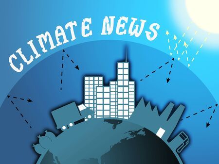 Climate News Around City Shows Environment Headlines 3d Illustration